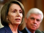 US Speaker of the House Nancy Pelosi (L) speaks during a news conference with Senate Banking, Housing and Urban Affiars Committee Chairman Christopher Dodd at the US Captiol in Washington, DC. (AFP/Getty Images/Chip Somodevilla)