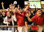 Texas Tech Red Raiders fans celebrate following a go ahead touchdown against the Texas Longhorns in the fourth quarter at Jones AT&T Stadium. Texas Tech beat Texas 39-33 (Brendan Maloney-US PRESSWIRE)