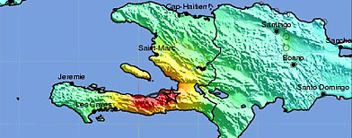 This image released by the U.S. Geological Survey shows a shake map of the Haiti Region processed Tuesday, Jan. 12, 2010. (AP Photo/U.S. Geological Survey)