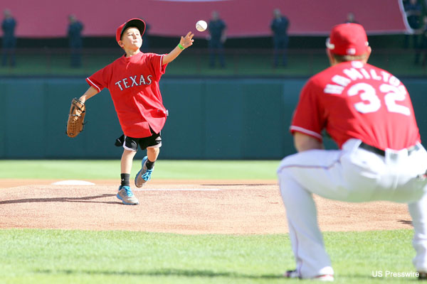 Cooper Stone delivers pitch to Josh Hamilton before Rangers game