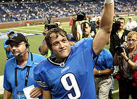 Lions quarterback Stafford celebrates narrow win over Washington