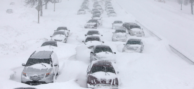 Hundreds of cars are stranded on Lake Shore Drive in Chicago