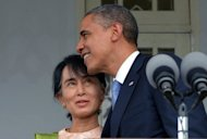 US President Barack Obama hugs Myanmar opposition leader Aung San Suu Kyi following their meeting at her residence in Yangon, on November 19. Obama met Suu Kyi during a historic visit to Yangon aimed at encouraging political reforms