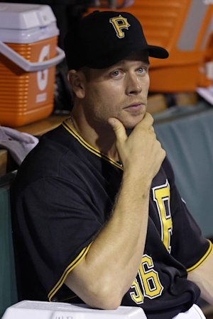 Pittsburgh Pirates' Justin Morneau sits in the dugout …