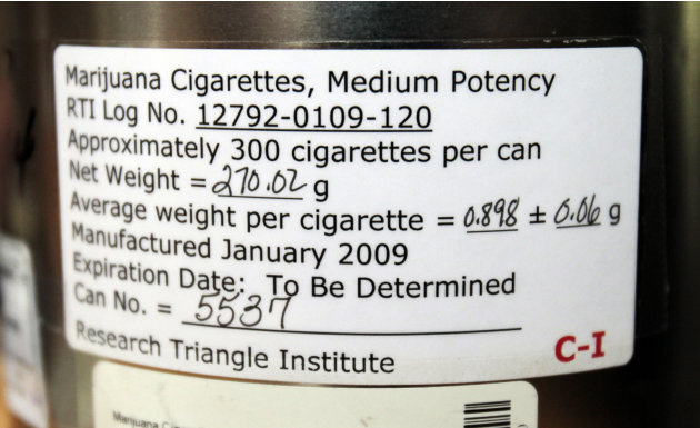 The label on the side of a canister holding marijuana cigarettes that Elvy Musikka, 72, who suffers from glaucoma, regularly receives from the U.S. Government in Eugene, Ore., is shown Tuesday, Sept.