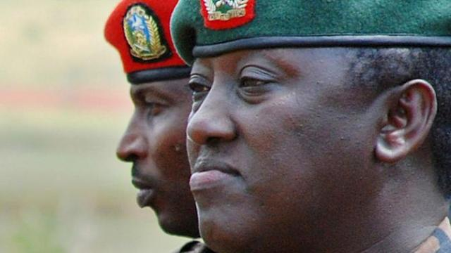 """General Karenzi Karake (pictured) was accused of """"crimes of terrorism"""" linked to the killing of nine Spanish citizens in Rwanda in the 1990s"""