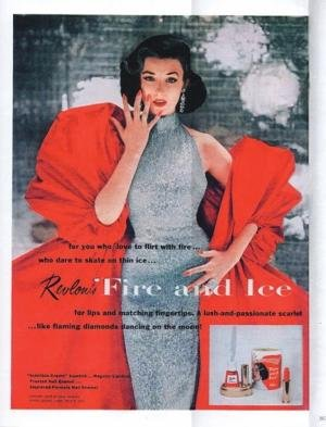 Dorian Leigh for Revlon Fire and Ice lipstick. Shot by Richard Avedon.