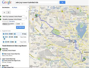 Google Transit Maps Bus Routes for Chennai and Hyderabad
