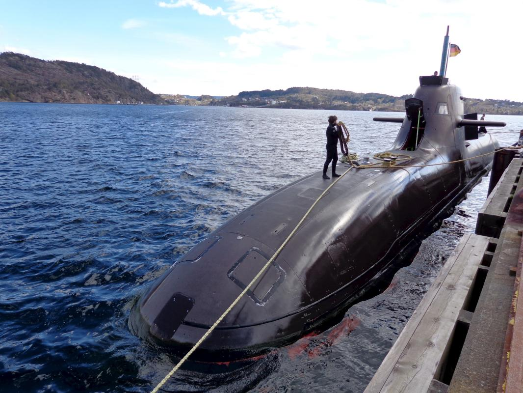 The U33, a Germany 212 class submarine prepares for Operation Dynamic Mongoose near Bergen