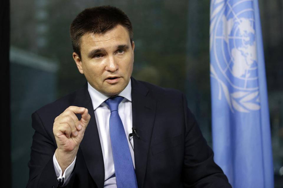 Ukrainian Foreign Minister Pavlo Klimkin is photographed during an interview with The Associated Press, Thursday, July 30, 2015 at United Nations...