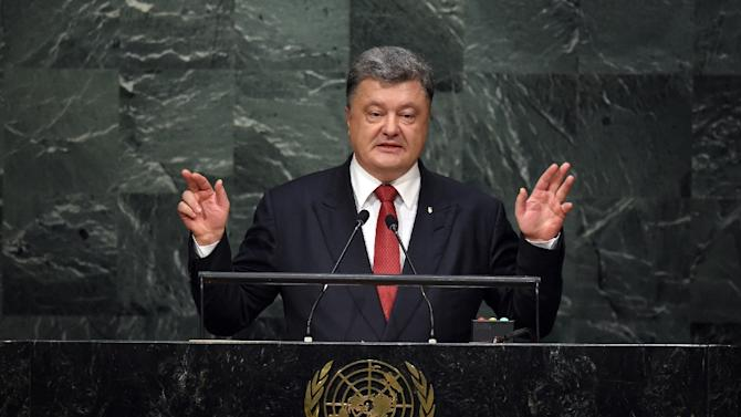Petro Poroshenko, President of Ukraine, addresses the 70th Session of the UN General Assembly September 29, 2015 in New York