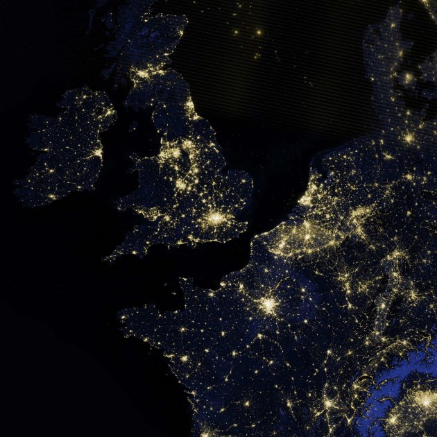 A NASA Earth Observatory image shows Britain, Ireland and part of Western Europe as it appeared on the night of March 27, 2012