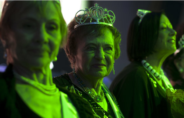 Holocaust survivors participate in a beauty pageant, in the northern Israeli city of Haifa, Thursday, June 28, 2012. Fourteen women who lived through the horrors of World War II paraded on stage Thurs