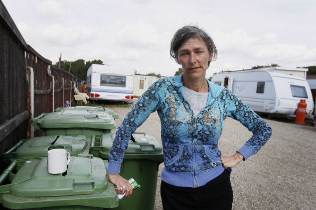 In this photo taken Thursday, Sept. 15, 2011, campaigner Marina Pepper poses for a photograph at the Dale Farm travelers site near Basildon, Essex, England. Within days, more than 200 people will be e