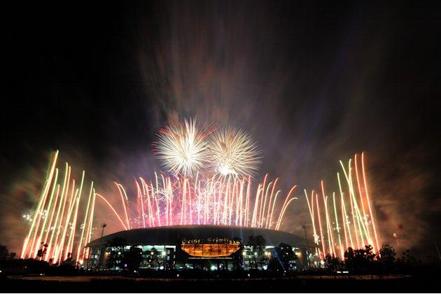 Pesta Kembang Api, tampak dari luar komplek Stadion Jakabaring
