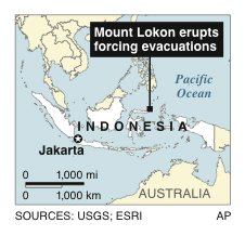 Map locates Mount Lokon in Indonesia, which erupted early Friday, forcing evacuations