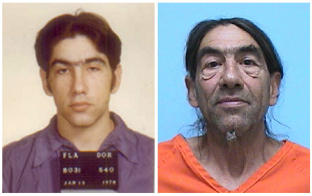This combo made from photos provided by the Florida Department of Corrections and the U.S. Marshal's Service shows Frederick Barrett in 1979, left, and on Wednesday, July 27, 2011. Barrett, who escaped from a Florida prison in 1979 while serving a life sentence for murder, was arrested Wednesday outside the town of Montrose, Colo. (AP Photo)