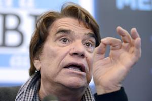 French businessman Bernard Tapie gestures while delivering …