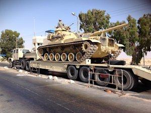 An Egyptian military tank is deployed in the northern…