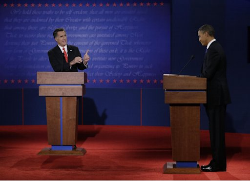 FILE - In this Oct. 3, 2012 file photo, Republican presidential nominee Mitt Romney points to President Barack Obama during the first presidential debate at the University of Denver in Denver. Campaign 2012 is rich with images that conjure the seriousness and silliness that unfold side-by-side in any presidential race. The debates offered viewers a collage of images that traced the rhetorical highs and lows. Think of Obama's downcast eyes and pursed lips during the Romney smackdown that was the first debate. (AP Photo/Eric Gay)