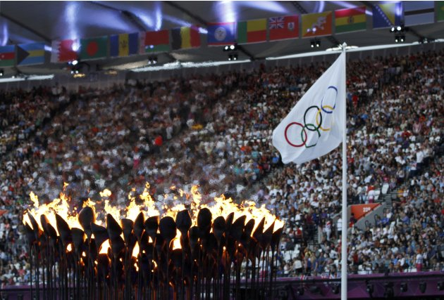 The Olympic Torch and flag are seen during the closing ceremony of the London 2012 Olympic Games