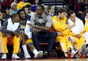 ed9fa065b07f Dwight Howard sat out the Lakers  first preseason game as he recovers from  back surgery. (AP)New Lakers center Dwight Howard sat out the game as he ...