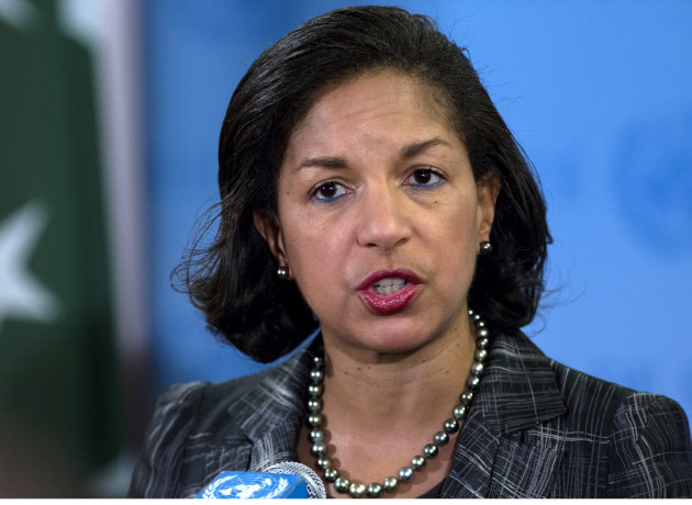 FILE - In this Feb. 12, 2013 file photo, U.S. Ambassador Susan Rice speaks at a news conference at U.N. headquarters in New York. President Barack Obama's top national security adviser Tom Donilon is resigning and will be replaced by U.S. ambassador to the United Nations Susan Rice, marking a significant shakeup to the White House foreign policy team. (AP Photo/Craig Ruttle, File)