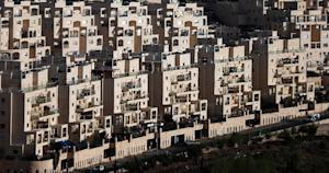 A general view shows the Israeli settlement of Har …