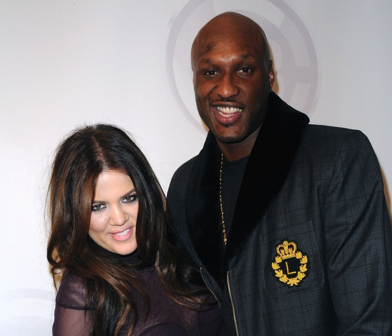 Khloe Kardashian and Lamar Odom arrive at a party at Club Nokia in L.A. on February 18, 2011 in Los Angeles, California