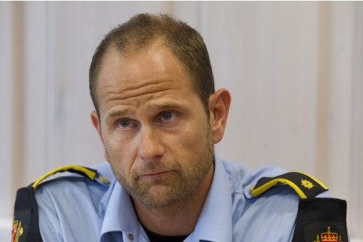 Police officer Haavard Gaasbakk  during a press briefing in Hoenefoss, Norway  Wednesday July 27 2011. Police have come under close scrutiny over how long it took them to reach the island after first reports of shots being fired at the island youth camp Friday. Although the island is only about 25 miles (40 kilometers) from the Norwegian capital, police needed 90 minutes to get to the scene. Squad leader  Gaasbakk told reporters that  the shooter, Anders Behring Breivik,  lay down his weapon and held his hands high over his head when approached by his team. (AP Photo /Terje Bendiksby, Scanpix)  NORWAY OUT