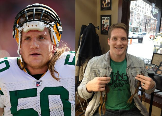 A.J. Hawk Green Bay Packers Linebacker Donates Locks for Cancer Kids. Image by Getty/Twitter/Yahoo Sports