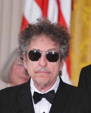 US muscian Bob Dylan, seen receiving the Presidential…