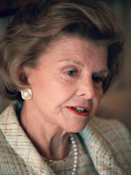 FILE - This June 1994 file picture shows former first lady Betty Ford during an interview in New York. On Friday, July 8, 2011, a family friend said that Ford had died at the age of 93. (AP Photo/Luc Novovitch)