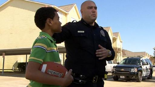 Police Officer Stops to Play Catch With Boy Playing Alone