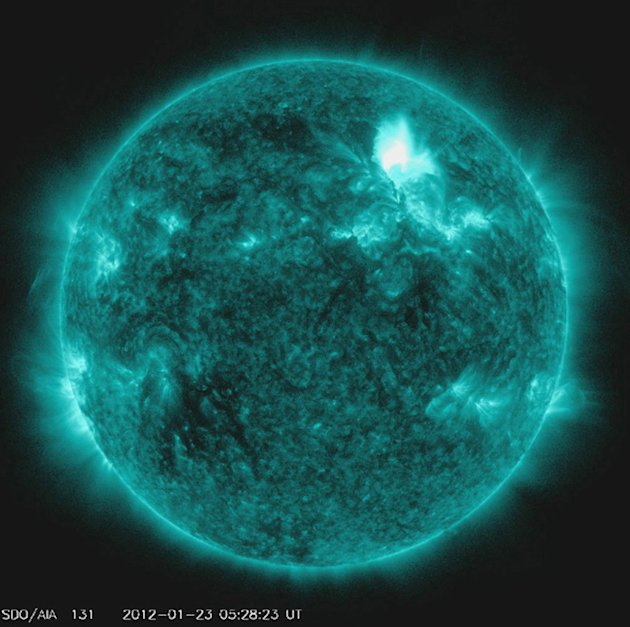 The Solar Dynamics Observatory captures an M8.7 class flare in a handout photo released by NASA