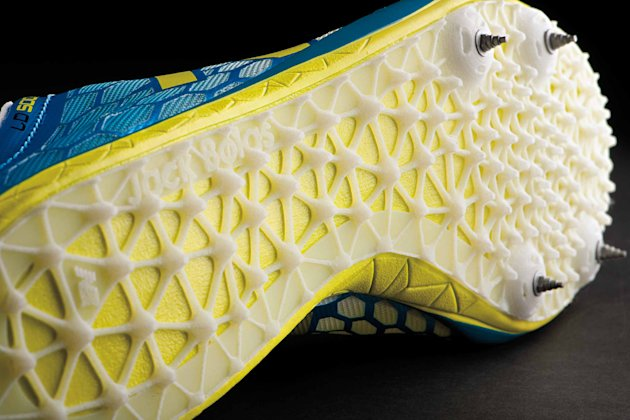 This product image released by New Balance shows a New Balance shoe from Jack Bolas' 3D printed plate. New Balance is taking customization much further than choosing colors or other aesthetic details. The athletic brand is introducing sneakers that use 3-D printing to create a plate on the sole of the shoe that is supposed to enhance performance with every step. (AP Photo/New Balance)