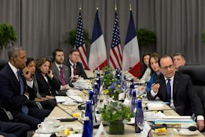 President Barack Obama meets with French President…