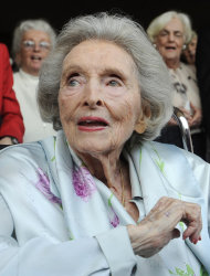 "FILE - In this May 27, 2009 file photo, Dolores Hope, the widow of legendary comedian Bob Hope, looks on as partygoers sing ""Happy Birthday"" to her during her 100th birthday party in Los Angeles. Hope, who was married to Bob Hope for 69 years and sang at his shows, died Monday, Sept. 19, 2011 of natural causes at home in Los Angeles. She was 102. (AP Photo/Chris Pizzello, file)"
