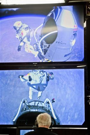 Handout photo of pilot Felix Baumgartner of Austria jumping out from the capsule during the final manned flight for Red Bull Stratos in Roswell