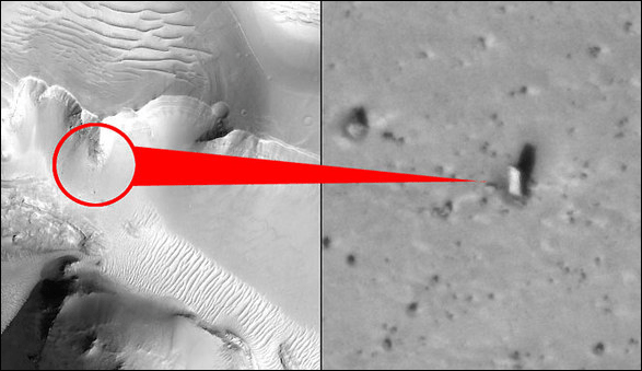 'Monolith' Object on Mars? You Could Call It That (Image: NASA HiRISE; Arrow: thesun.co.uk)