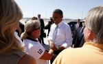 U.S. President Barack Obama greets supporters upon his arrival in Las Vegas