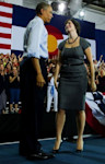 Obama appeared with law graduate Sandra Fluke, who was caught in a political maelstrom