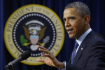 President Barack Obama gestures as he speaks about the fiscal cliff, Monday, Dec. 31, 2012, in the South Court Auditorium at the White House in Washington. The president said it appears that an ...