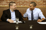 "President Barack Obama meets with Mario Orosa, left, of North Canton, Ohio, and other winners of the ""Dinner With Barack"" campaign fundraising contest at Smith Commons Dining Room and Public House ..."