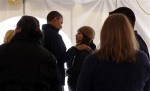 U.S. President Barack Obama greets residents affected by Hurricane Sandy at a Staten Island FEMA disaster recovery center in New York