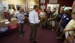 U.S. President Barack Obama thanks volunteers during a visit to at a local Obama campaign office in Henderson