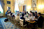 U.S. President Barack Obama and Michelle Obama host Passover Seder Dinner with friends and staff in the Old Family Dining Room at the White House in Washington