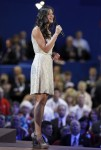 Ayla Brown sings National Anthem at start of the third session of Republican National Convention in Tampa