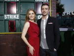 """Adams and Timberlake pose at the premiere of """"Trouble with the Curve"""" at the Village theatre in Los Angeles"""