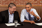 President Obama has a dinner with winners of a campaign contest